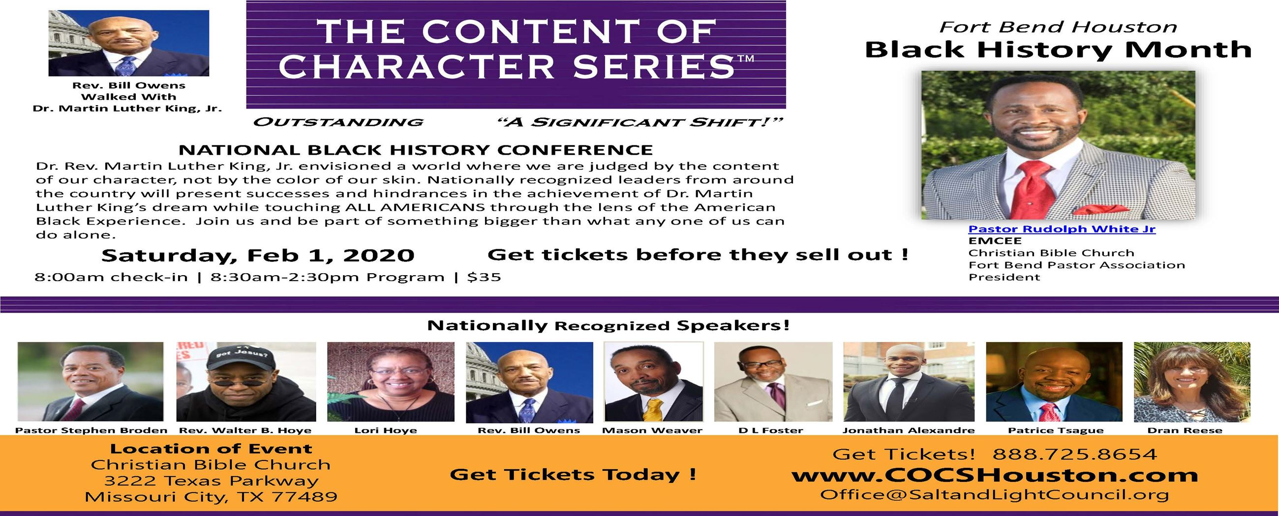 Pastor  Rudolph White - COCS Flyer